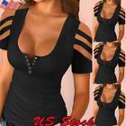 Sexy Women Low-cut Short Sleeve Top Blouse Ladies Slim Fit Cold Shoulder T-Shirt