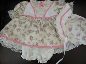 "Hand Made Dress Set Beige w/Pink Flower Bouquet Print for 20-22"" Doll"