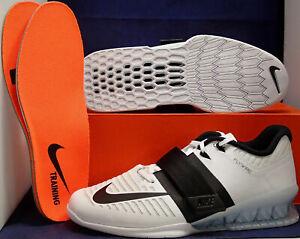 Nike Romaleos 3 Haltérophilie Chaussures Entraînement Blanc Noir (852933-101) Sz