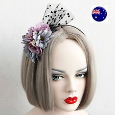 Women Girl Purple Blue Flower Veil Prom Race Fascinator Party Hair headband Prop