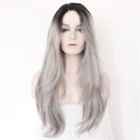 "Black Mixed Grey Wig Long 26""  Fashion Women Cosplay Wavy Heat Resistant Wig"