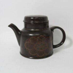 "Royal Doulton Marbella Teapot & Lid 6.25"" Brown Floral Print Lambeth Stoneware"