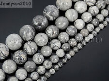 Natural Landscape Jasper Gemstone Round Beads 16'' 4mm 6mm 8mm 10mm 12mm 14mm