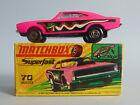 Boxed dark pink with black base Lesney Matchbox Superfast 70 Dodge Dragster