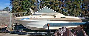 GLASTRON Gulfstream II 205 Power Boat-Ski & Fish w Trailer for Repair Fiberglass