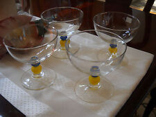 4 Luminarc France Yellow Blue Stem Wine Glass Glasses Ice Cream Dessert Bowl