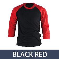 Womens Ladies 3/4 Sleeve Raglan Baseball Shirt Jersey Casual Vintage Tee Top Red 2xl