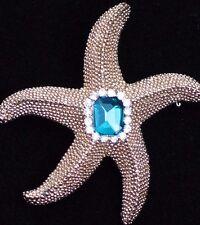 """GOLD CLEAR GREEN RHINESTONE OCEAN SEA STAR STARFISH PIN BROOCH JEWELRY 1.75"""" 3D"""