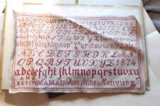 abécédaire brodé de Joséphine Métivier  1874 travaux d aiguille de pension