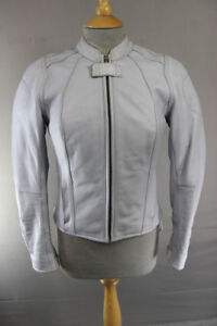 HEIN GERICKE GREY LEATHER BIKER JCKT + CE HIPROTEC ARMOUR/THERMAL LINING: SIZE 8
