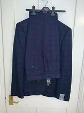 Primark Mens Suit, Stretchy slim fit, Blue check, W32 L34 trousers, 40S jacket