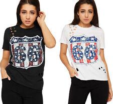T-shirt, maglie e camicie da donna multicolore in cotone con girocollo