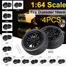 4Pcs 1:64 Alloy Wheels Rubber Tires DIY Modification Custom Wheels Model Toy Set