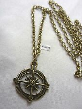 "Pendan , Long ( 30"" ) Chain Necklace A Bronze Style Compass / Gps Sign Charm"