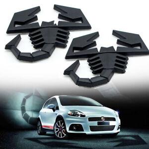 2x Metal Black Scorpion Logo Decal Auto Badge Sticker Door Trunk Rear Car Emblem