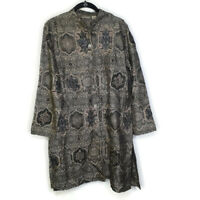 Chico's Long Open Cardigan Jacket Formal Embroidered Beaded Ornate Gold Black 1