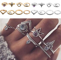 Boho Vintage Silver Gold Arrow Gemstone Midi Finger Knuckle Ring Jewelry 8Pcs H