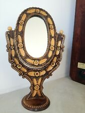 Antique German Black Forest or Austrian Tyrol wood carved mirror Natural deco