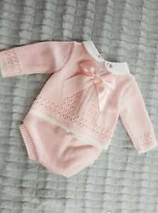 Nursery Time 2pc Long Sleeve top and jam pants set - Pink/white bow & embroidery