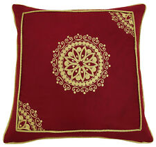 Floral Embroidered Square Cushion Cover Indian Throw Cotton Maroon Pillow Case