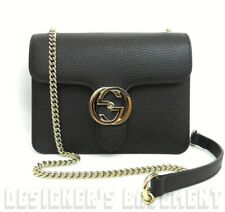 GUCCI black Pebbled Leather INTERLOCKING G lock Cross-Body CHAIN bag NWT Authent