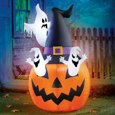 5 Ft Jack-O-Lantern w/ Ghosts Lighted Inflatable Lawn Ornament Halloween Decor