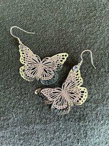 Schmetterling Ohrringe - Silber/lila - mit Strassstein