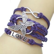 Fashion Vintage Women Leather Braided Butterfly Woven Bangle Cuff Charm Bracelet