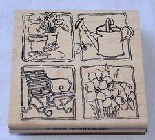 Stamp - Spring Garden Sampler Flowers Watering Can Mounted Rubber on Wood NEW