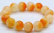 Natural 10mm Yellow Jade Gemstone Round Beads Stretchy Bangle Bracelet 7.5'' AAA
