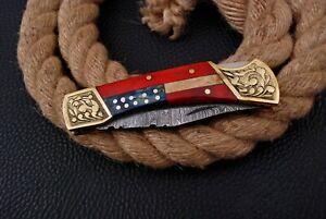 HAND FORGED Damascus Steel Folding Pocket Knife Engraved Bolster Wood Handle