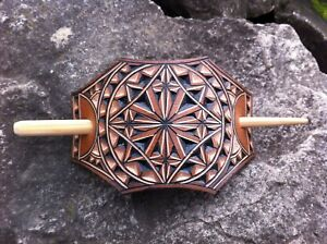 Maltese Cross hand carved leather hair barrette