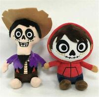 New 2pcs Disney Pixar Coco Boy Hector & Death Miguel Stuffed Toy Plush Doll Set