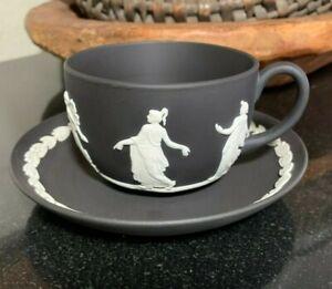 "Wedgwood Jasperware Dancing Hours Black 2 1/4"" Flat Cup & Saucer - Excellent"