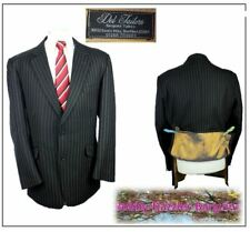 """Bespoke Hand Tailored @ Dels Tailors Mens suit Jacket Ch44""""R Black Striped"""