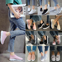 Women's Round Toe Breathable Slip On Flats Trainers Sneakers Loafers Shoes Size