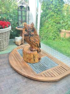 Eule Holz Figur Adler DETAILLIERT Haus Garten Kettensägenkunst Vögel Eingang