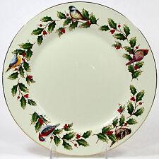 "International Bazaar HOLLY & BIRDS 10.5"" Dinner Plate(s) Christmas Gold Trim"