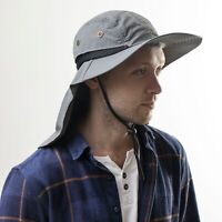Men Women Sun Hats with Neck Flap UV Protection Wide Brim Bucket Mesh Breathable