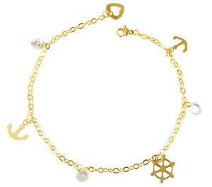Fußkettchen aus Edelstahl Fußkette in Gold Fuß Knöchel Herz Anker Liebe Hoffnung