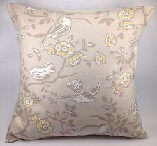 "Ashley Wilde Bramber Beige Mustard Yellow Flowers Bird 16"" Cushion Cover"