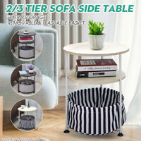 Round Wood Side Table End Sofa Table Fabric Shelf Storage Basket Room Furniture