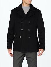 Mens Negro de Lana & cachemira PEA Coat Reefer Chaqueta de invierno cálido pesado 80% Lana