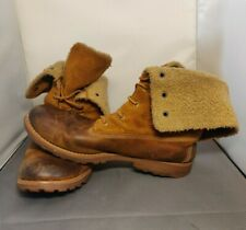 TIMBERLAND Boots Women's Fold Down Tan/Brown Suede and Leather. UK Size 6