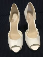 Aldo Size 39 USA Size 9 White Leather Open Peep Toe Heels Pumps Shoes