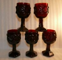 "Vintage Ruby Red Glass Avon Cape Cod Wine Glass Goblets 4 1/2"" 4.5""  Set Of 5"