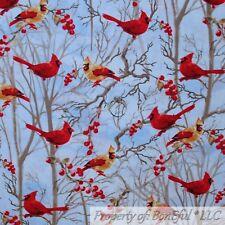 BonEful FABRIC Cotton Quilt White Snow Xmas Tree Cardinal Bird Red Holly Berry S