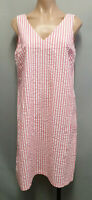 BNWT Ladies Size 12 Target Brand Pink Stripe V Neck Shift Sleeveless Dress