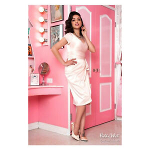 Pinup Couture Women's Sz S Ava Midi Knee Length Pencil Dress in Blush Pink