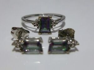 POSSIBLE MYSTIC TOPAZ 10K WHITE GOLD & DIAMOND RING & EARRINGS LOT SET